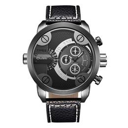 Relógio de discagem oulm on-line-de Oulm Homens relógios desportivos Top Male quartzo relógio Big Dial couro relógios de pulso ocasional do homem Horas Relógio masculino