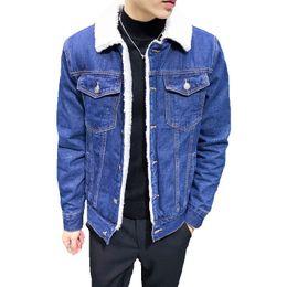 edf22546bed 2017 Men Fashion Denim Jackets Autumn and Winter Black Denim Jacket Thick Wool  Coat Male Plus Velvet Jacket Size S-5XL 6XL denim jacket men wool on sale