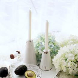 Bougies blanches en Ligne-gros cru blanc bois bougeoirs accueil décoratif table à dessert bois artisanat pilier bâton ne comprend pas de bougies