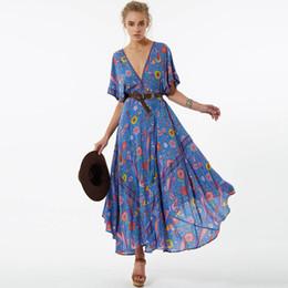 Wholesale sexy open back maxi dresses - Jastie Lovebird Gown Women Dress Retro Bohemian Maxi Dresses Sexy V-Neck Open back BOHO beach Dress Boho Hippie Female Vestidos