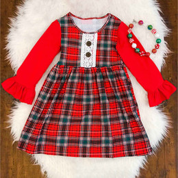 Wholesale Fashion Scotland - 2018 New Baby Girls Scotland Plaids Dress Fashion Cute Flare Long Sleeve Dresses Kids Dress for 80-120CM