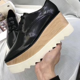 Wholesale ms spring - Designer Ms. Solid wood High-heeled shoes Star The same paragraph Flat shoes Spring England Square Black Student Increase Casual shoes