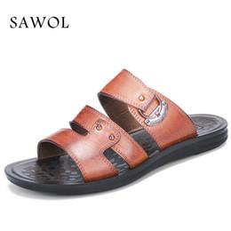 Wholesale Plus Size Cotton Thongs - Sawol Men Sandals Genuine Split Leather Men Beach Sandals Brand Casual Shoes Flip Flops Thong Sneakers Plus Big Size Summer
