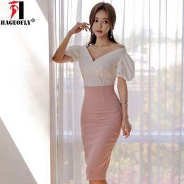 Корейские юбки онлайн-HAGEO New Summer 2 Pieces Sets Korean Dress White Tops with Pink Knee Skirt Suits Dress Puff Sleeve Work Office Lady Dresses
