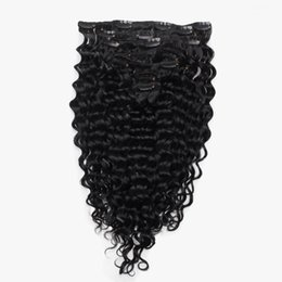 Wholesale Double Wefted Hair Extensions - Curly Remy Clip in Hair Extensions 120g Set Full Head Double Wefted Remy Human Hair Clip in Hair Extensions 8 Colors Available