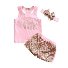 Wholesale Newborn Girls Leggings - 3Pcs Summer Baby Set Newborn Cute Baby Girls Cotton Tops Vest Sequin Pants Leggings Outfits Set Clothes