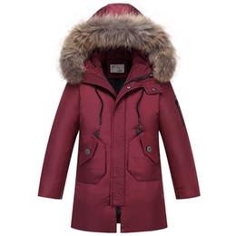 2019 große jungs daunenjacke Neue Teenager Parka Big Boys Winter Warme Mantel Jacke für Jungen Kinder Kinder Daunenjacken Waschbär Pelz auf Kapuze günstig große jungs daunenjacke