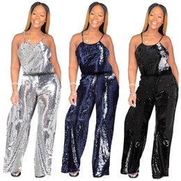 b83ed3568e1 Women s Sparkle Glam Solid Sequin Spaghetti Strap Wide Leg Jumpsuits  Fashion Sleeveless Party Long Pants Suits Real Pictures 2018