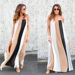 Wholesale Casual Holiday Dresses For Women - Fashion Beach Dress For Women 2018 Colorful Panelled Chiffon Maxi Dress Floor-Length Holiday Clothing Long Spring Sundresses Khaki Color