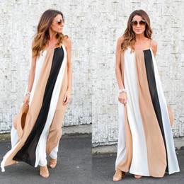 Wholesale Long Sundresses For Women - Fashion Beach Dress For Women 2018 Colorful Panelled Chiffon Maxi Dress Floor-Length Holiday Clothing Long Spring Sundresses Khaki Color