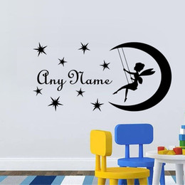 Wholesale pink fairy wall stickers - Wall Decal DIY Fairy On Moon Custom Name Wall Sticker Personalized Name Decal For Kids Nursery Girls Bedroom Decal