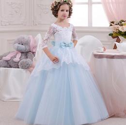 vestido de princesa bowknot sash Desconto Barato Lace Azul Rosa Lavanda Flower Girl Dress Meia Manga Longo Princesa Festa de Dama de honra pageant Crianças Vestidos V-back Com Faixa Bowknot