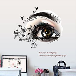 Wholesale Individual Stickers - Lashes Salon Decorated Wall Stricker PVC Transparent Stricker Lash salon room bedroom Removable Decorating Sticker Decorated eye Sticker