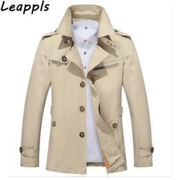 Männer kaschmir langen graben online-Leappls Trench Men Mode England Stil lange feste Cashmere Wolle Liner Winterjacke Männer Marke-Kleidung Oberbekleidung Streetwear