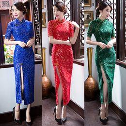 2019 vestido cuello de shangai Moda vintage Shanghai historia cheongsam estilo vestido de fiesta mujeres sexy vestido, una pieza azul, verde, rojo delgado vestido largo verano rebajas vestido cuello de shangai