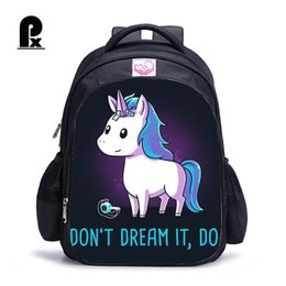 2019 mochila de personaje mochila 2018 Unicornio Niños Mochila para Adolescentes Feminina Girls Unicornio Mochila Estudiante Viaje Mochila Sac A Dos