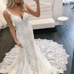 Wholesale muslim bride models - Lace Applique Mermaid Wedding Dress 2018 Sexy Backless Spaghetti Straps Chapel Train Bridal Gown Wedding Dress for Bride Sheath Custom Made
