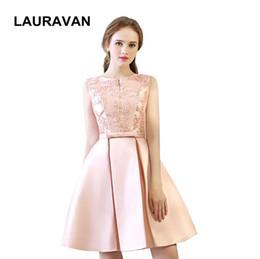 f7eb07548219 breve modesto formale o collo ragazze ball gown dress partito elegante  pallido rosa abiti occasioni speciali damigella d onore spedizione gratuita