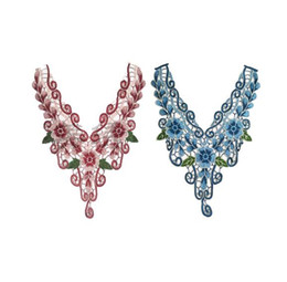 Wholesale wholesale lace motifs - 40*30CM Butterfly Lace Embroidery Collar Lace Neck Patches Lace Motifs Applique Sew On Sticker
