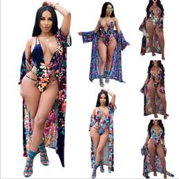 Wholesale Swimming Bikinis - Women Fashion Bikini Sets Sexy Bodysuit 2 Piece Beach Wear Print Rompers Jumpsuits Covers 6Colors V-Neck Swim Bodysuit KKA5020