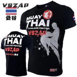 Полут-майки для мужчин онлайн-2018 New tee shirt homme VSZAP Muay Thai Fitness Short-sleeved Men T-shirt MMA Fight Wear Wrestling tshirt Half-Sleeve Clothing