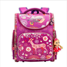 Wholesale children school branded backpack - Famous Brand Children School backpack Cute Deer Princess Girls Primary Backpack Orthopedic Cartoon Space School Bags for boys