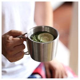 Wholesale Coffee Cup Warm - Folding Handle Coffee Mugs 350ML Thickened Double Wall Stainless Steel Milk Mugs Tea Cups Travel Camping Mugs OOA3991