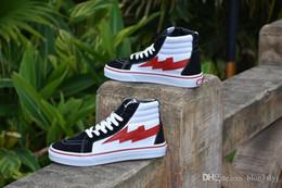 Wholesale High Street Fashion Shoes - REVENGE X STORM BLACK WHITE RED HIGH CUT SNEAKERS Black Men's Shoes Casual Shoes Fashion Hip Hop Hip-hop Street Dance Chute Board