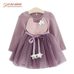 Wholesale Dresse Kids - DOSOMA Baby Girl Clothes Spring Fashion Costume For Kids Casual Dresses For Toddler Girls Dresse Yarn Party Children Clothing
