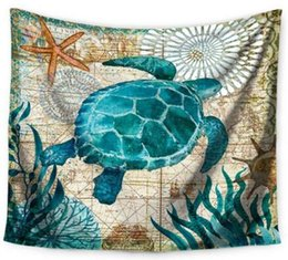 Wholesale Travel Picnic Blanket - Ocean Animal Turtles Whale Tapestry Throws Blanket Beach Towel Travel Picnic Blanket Towel Quick Dry Tapestry Wall Decor