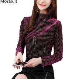 e58782dffa7332 blue velvet blouse 2019 - Spring Autumn Velvet Blusas Mujer Women Plus Size  Korean Casual Basic