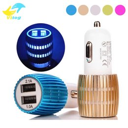 Wholesale Ip Lighting - Metal Dual Port USB Car Charger Alloy Shell With led Light 3.1A Adapter Charger for ip 6 6s 7 plus Samsung S6 edge S7 edge note5