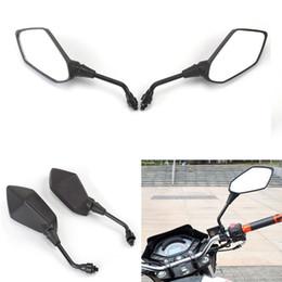 Wholesale black mirrors motorcycle - Black Universal Motorcycle Motorbike Rear view Side Mirror 10mm