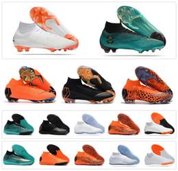 Wholesale Boy Mens - Mercurial Superfly SuperflyX KJ VI XII 360 Elite Ronaldo 6 12 CR7 FG TF IC High Mens Women Boys Soccer Shoes Cristiano Football Boots Cleats