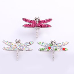 Wholesale dragonfly plate - Luxury 28*19*4mm Dragonfly Shaped 18mm Ginger Chunks Noosa Buttons 8 Colors DIY Jewelry Rhinestone Alloy Beads