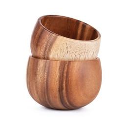 Wholesale Restaurant Bowls - Solid Wood Bowl antiskid   heat insulation   keep warm wood craft wooden restaurant tableware