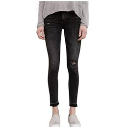 4044045524 Pantalones lápiz de cintura alta para mujeres Pantalones pitillo de  rasgadura sexy distress Pantalones pitillo de mezclilla bordados Vintage  para mujer