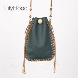 Wholesale Tribal Phone - LilyHood 2017 Female Real Leather Small Bag Handmade Wood Ibiza Bead Hippie Gypsy Folk Tribal Bohemian Boho Music Feminine Bag