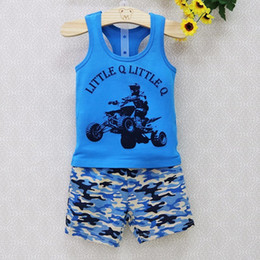 Wholesale Top Q - 2018 New Little Q Children Pure 100% Cotton Sleeveless tank tops+underwear 2 pcs set Clothing Set O Neck Shirts clothes outfits