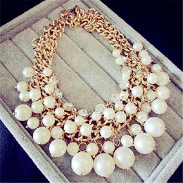 Wholesale Vintage Pearl Collar Necklace - whole saleLemon Value Statement Choker Vintage Charms Collar Fashion Imitation Pearl Pendants Crystal Necklaces Women Jewelry Collier A422