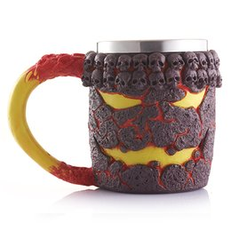 Wholesale Skull Mugs - Retro Magma Monster Cup Heat Resisting Resin Stainless Steel Skull Mug Milk Coffee Cups Drinkware Halloween Gifts 23kba C R