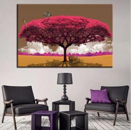 2019 arte abstrata da lona da borboleta Canvas Wall Art Pictures 1 Peça Red Tree Art Cenário Paisagem Pintura Home Decor HD Imprime Abstrata Borboletas Poster arte abstrata da lona da borboleta barato
