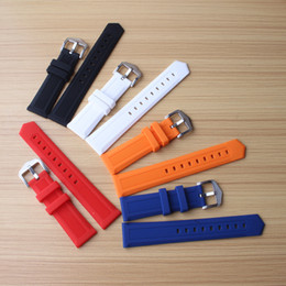 Wholesale watch band 18mm white - New 14mm 16mm 18mm 20mm 22mm 24mm Silicone Rubber Watchbands Wearing Straps for Sport Watches mens Band Wrist Belt Bracelet Red Blue Orange