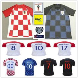 Wholesale M L Xl Xxl - 2018 World Cup Croatiaes Soccer Jersey 10 MODRIC 4 PERISIC 7 RAKITIC 17 MANDZUKIC 11 SRNA 8 KOVACIC Red Blue Hrvatska Football Shirt