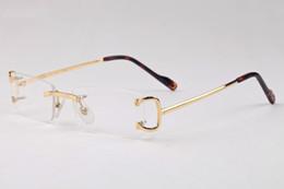 Wholesale Plastic Boxes Sale - hot sale fashion brand rimless buffalo horn glasses men women gold silver metal alloy frame man sunglasses with box
