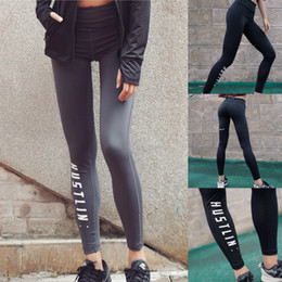 Wholesale fitness workout women - New Sports Leggings Yoga Pants Letter Printed Style Women Sexy Hip Push Up Pants Fitness Workout Gym Jogging Trousers