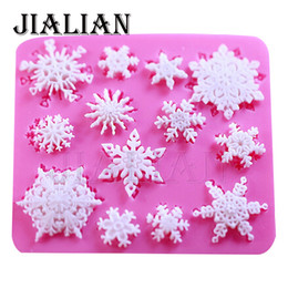 fondant snowflakes Promo Codes - 3D christmas decorations snowflake Lace chocolate Party DIY fondant baking cooking cake decorating tools silicone mold T0026