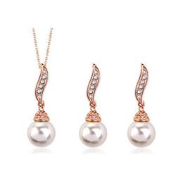Canada Demoiselle d'honneur ensembles de bijoux perles boucles d'oreilles perle collier pendentifs plaqué or massif ensemble de bijoux en perle ensembles de bijoux indiens Offre