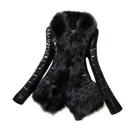 Argentina Mujeres abrigo de piel sintética nuevo diseñador de invierno cálido abrigo de cuello de piel chaqueta de cuero grueso abrigo informal Parka Casacos De Pele Falso # 21 Suministro