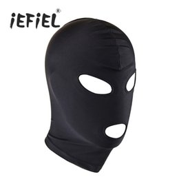 unisex costume lingerie Coupons - cover play iEFiEL Unisex Lingerie Headgear Mask Hood Bondage Role Play Costume Full Head Cover with Stitched Blindfold for Costume Party